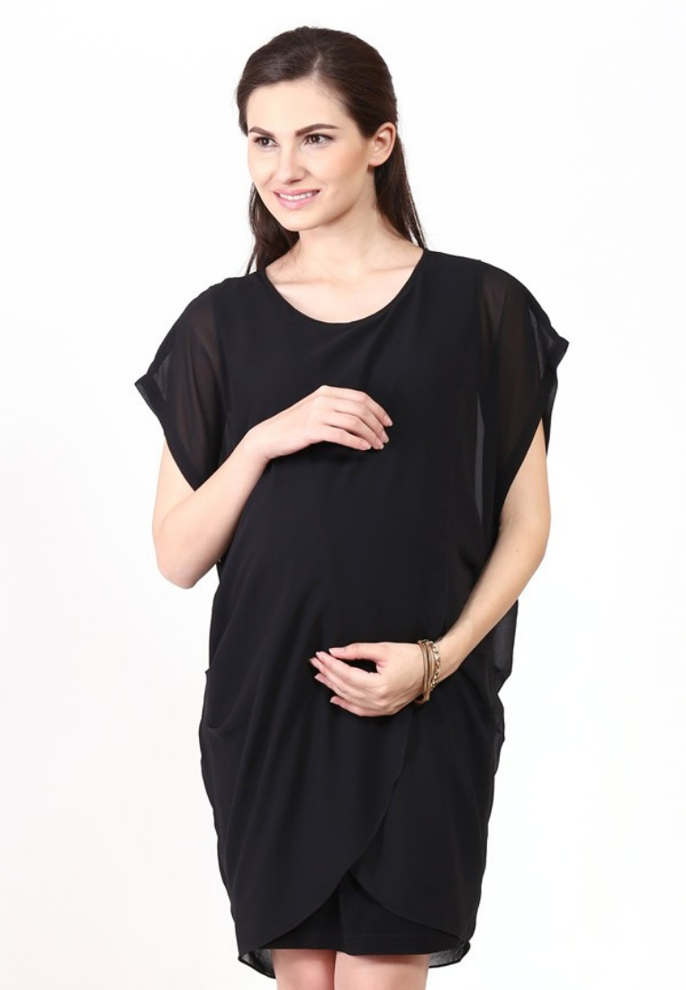 Maternity/Nursing Dress Calista 53003 Black