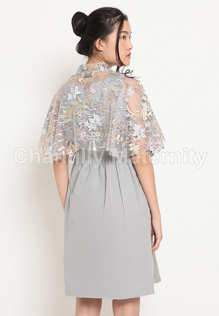 2-in-1 Maternity/Nursing Dress Party Cape Glitter 53062 GY