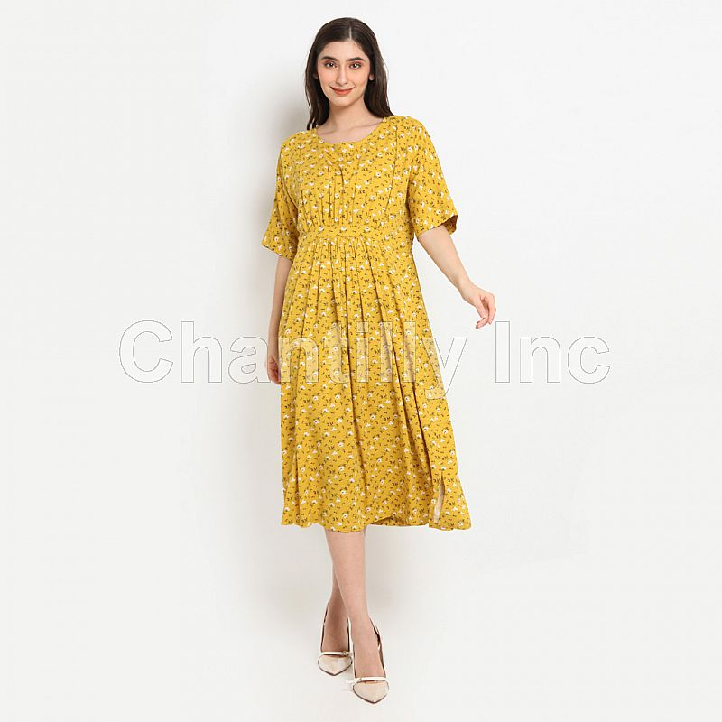 Chantilly Dress 2in1 Hamil/Menyusui dengan Slimming Effect 53053 Mustard Flwr