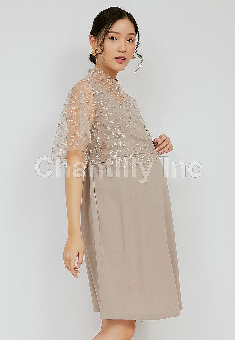 Chantilly 2-in-1 Maternity/Nursing Dress Party Cape Lace 53062 TAUPE