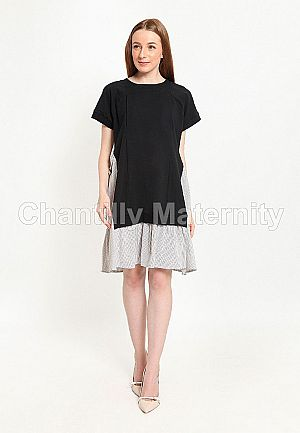 Chantilly Maternity/Nursing Dress 56006 BK-S.GY