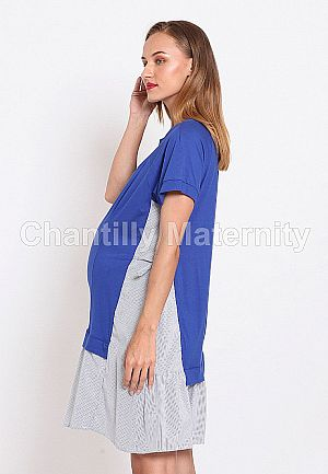 Chantilly Dress 2in1 hamil/Menyusui Kombinsi Kaos dan Katun 56006 R.BL-S.BL