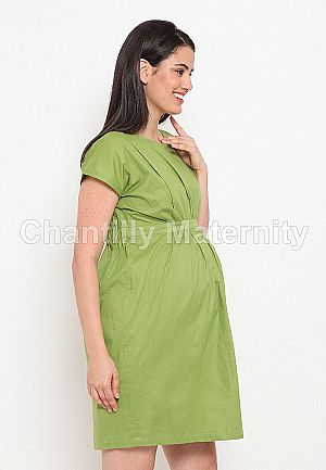 Chantilly Maternity/Nursing Dress 53023 L.Olive