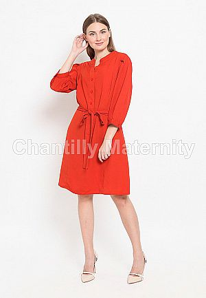 Dress 2-in-1 Maternity/Nursing Kerah Mandarin 53055 MB